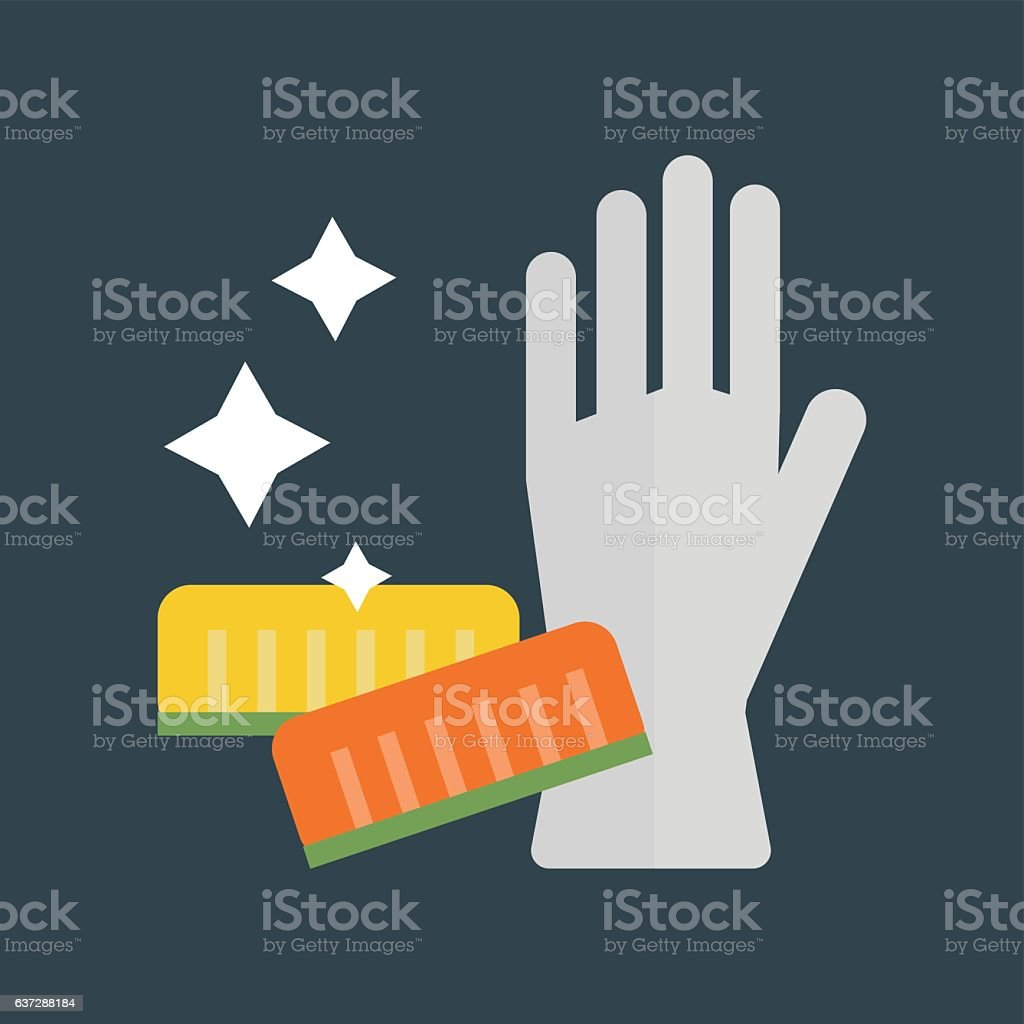Rubber gloves and cellulose sponges flat icon vector illustration. vector art illustration