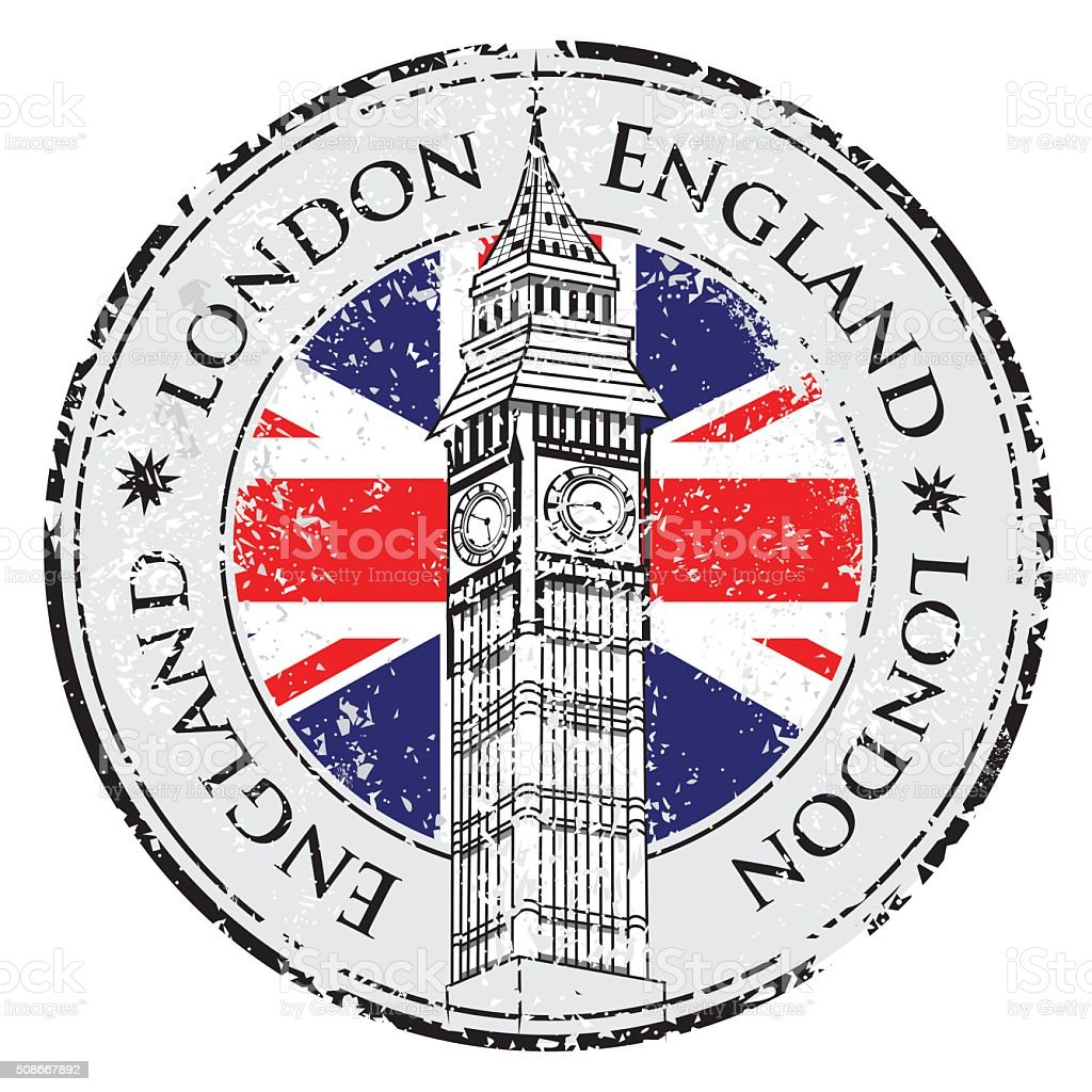 Rubber grunge stamp London Great Britain vector art illustration