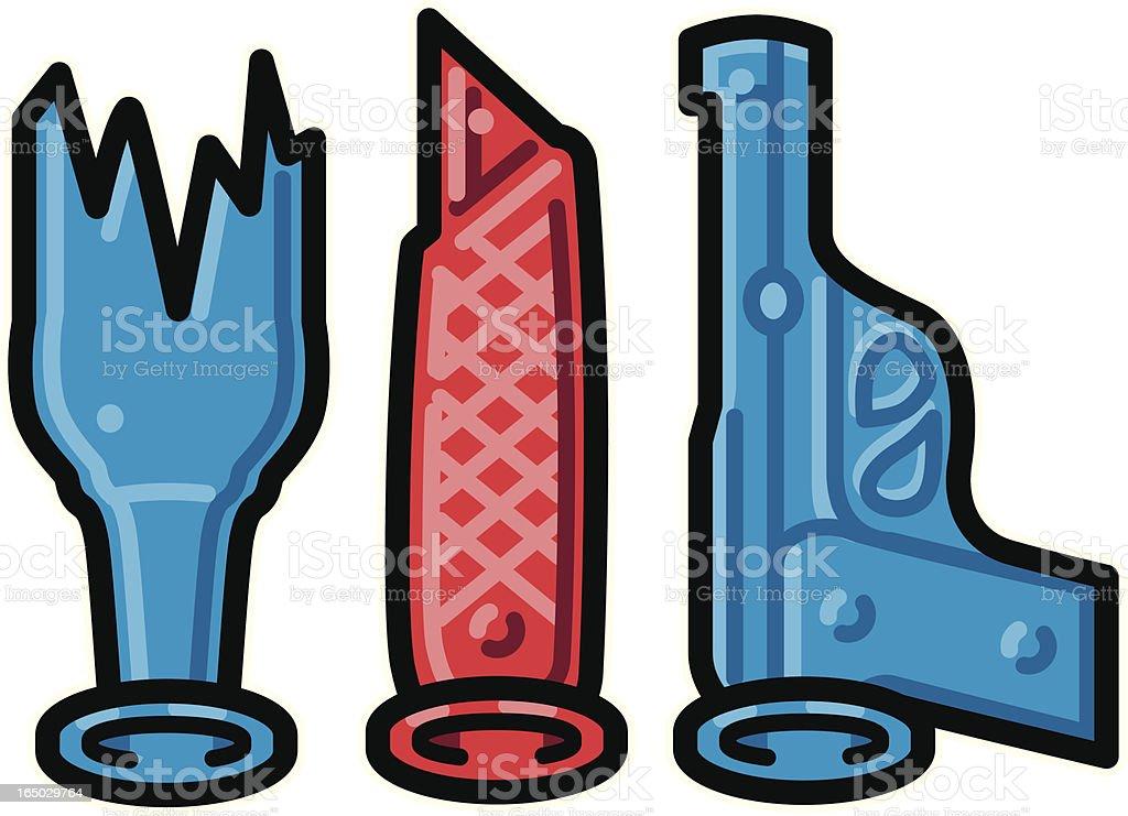 Rubber Knife, Bottle & Gun vector art illustration