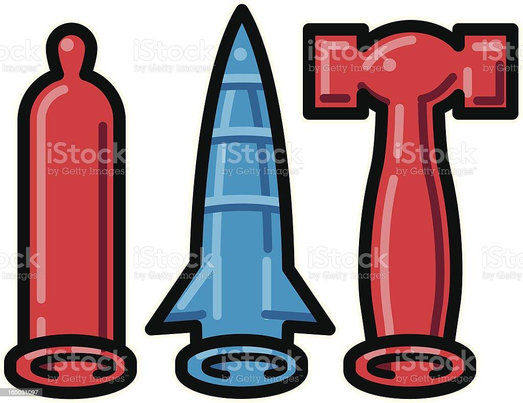 Rubber, Rocket & Hammer vector art illustration