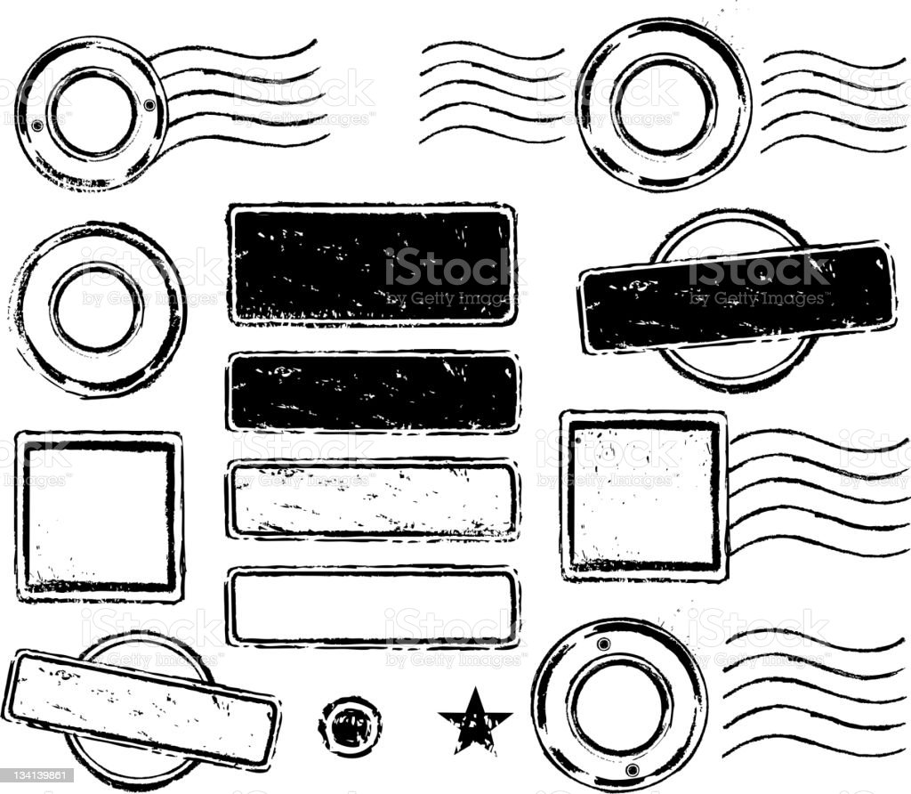 rubber stamp set royalty-free stock vector art