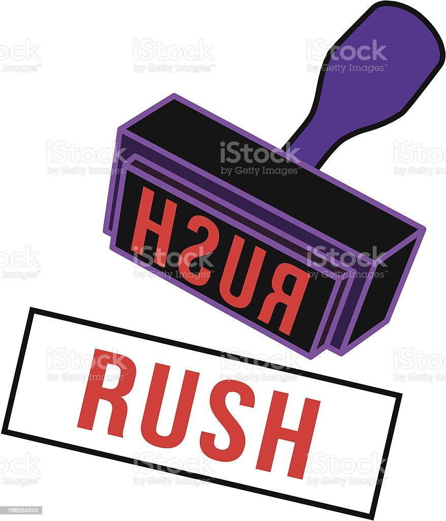 RUSH rubber stamp royalty-free stock vector art