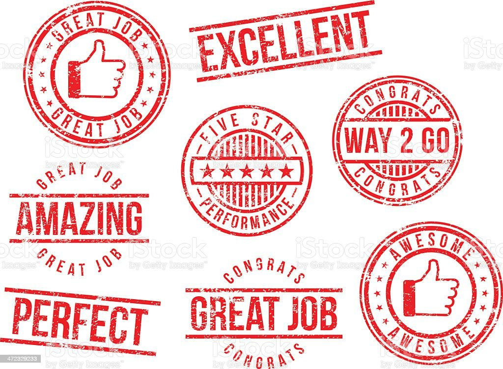 Rubber stamps - great job royalty-free stock vector art