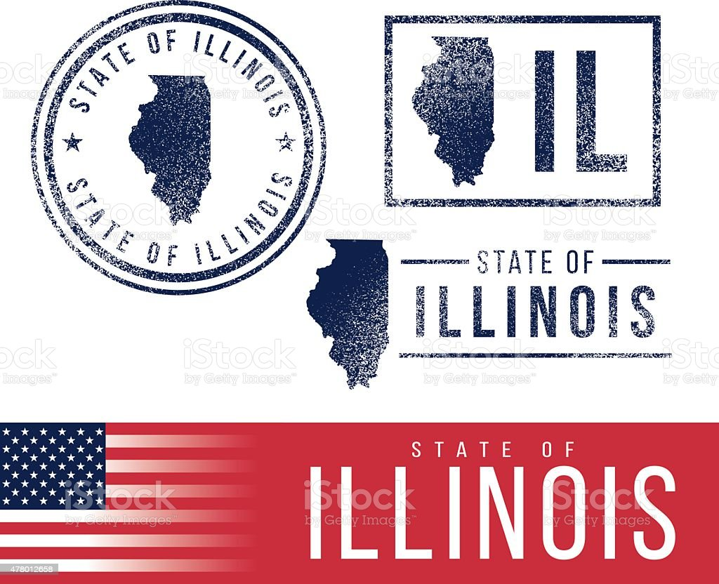 USA rubber stamps - State of Illinois vector art illustration