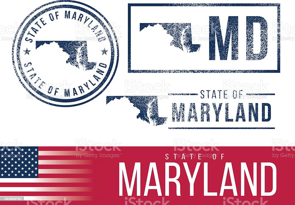 USA rubber stamps - State of Maryland vector art illustration