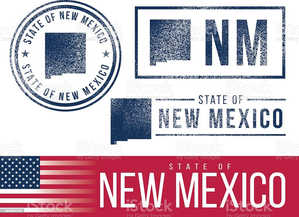 USA rubber stamps - State of New Mexico vector art illustration