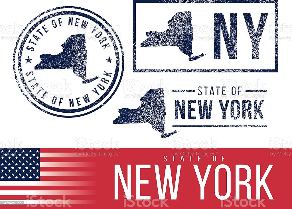USA rubber stamps - State of New York vector art illustration