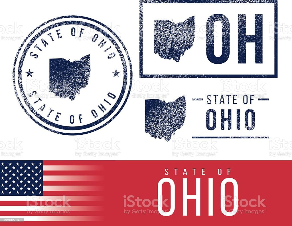 USA rubber stamps - State of Ohio vector art illustration
