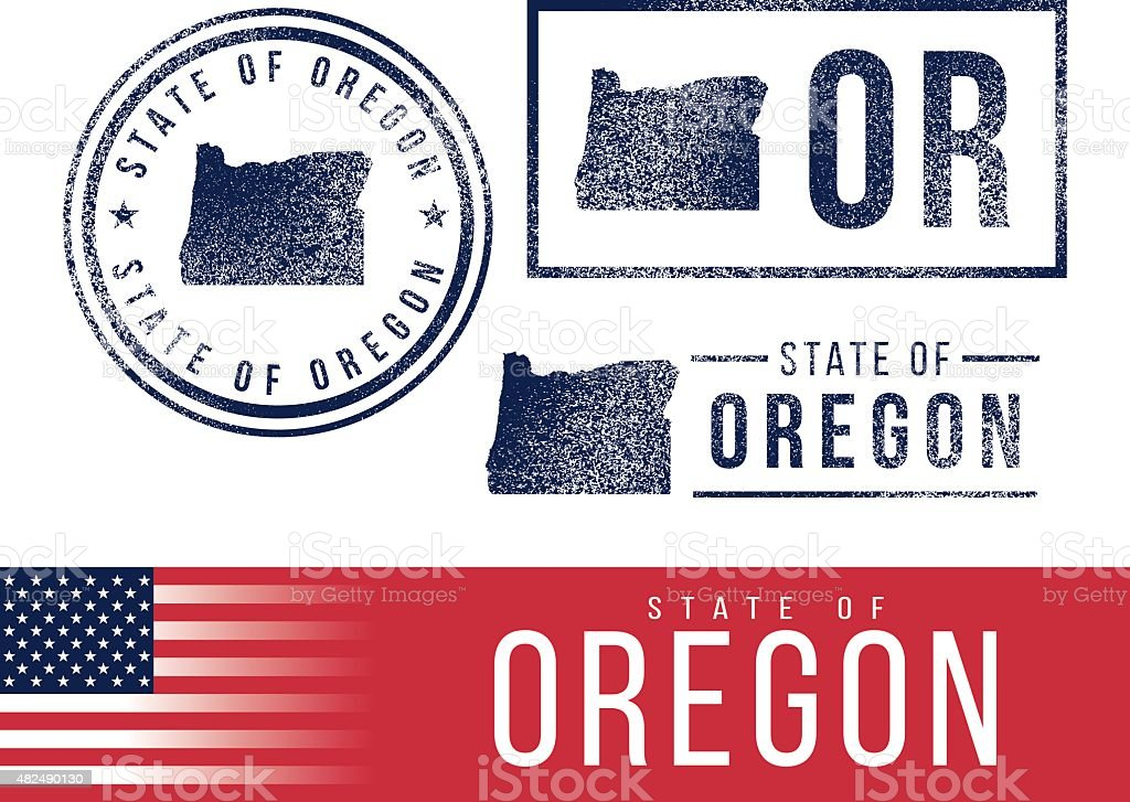 USA rubber stamps - State of Oregon vector art illustration