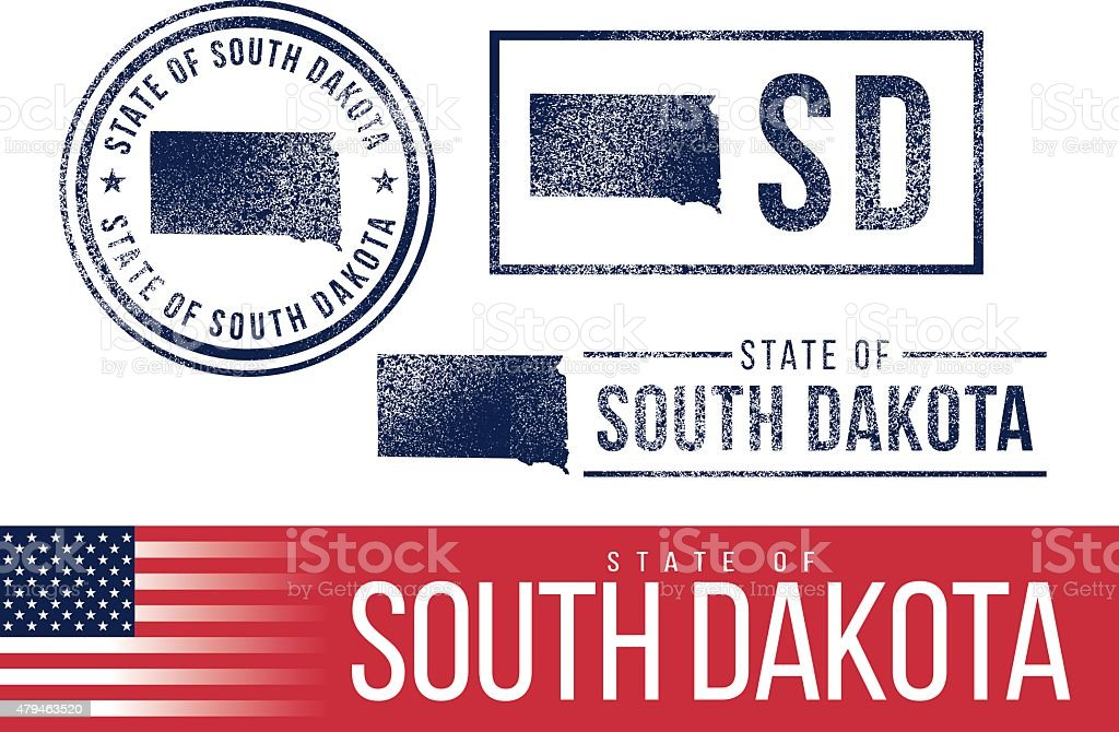 USA rubber stamps - State of South Dakota vector art illustration