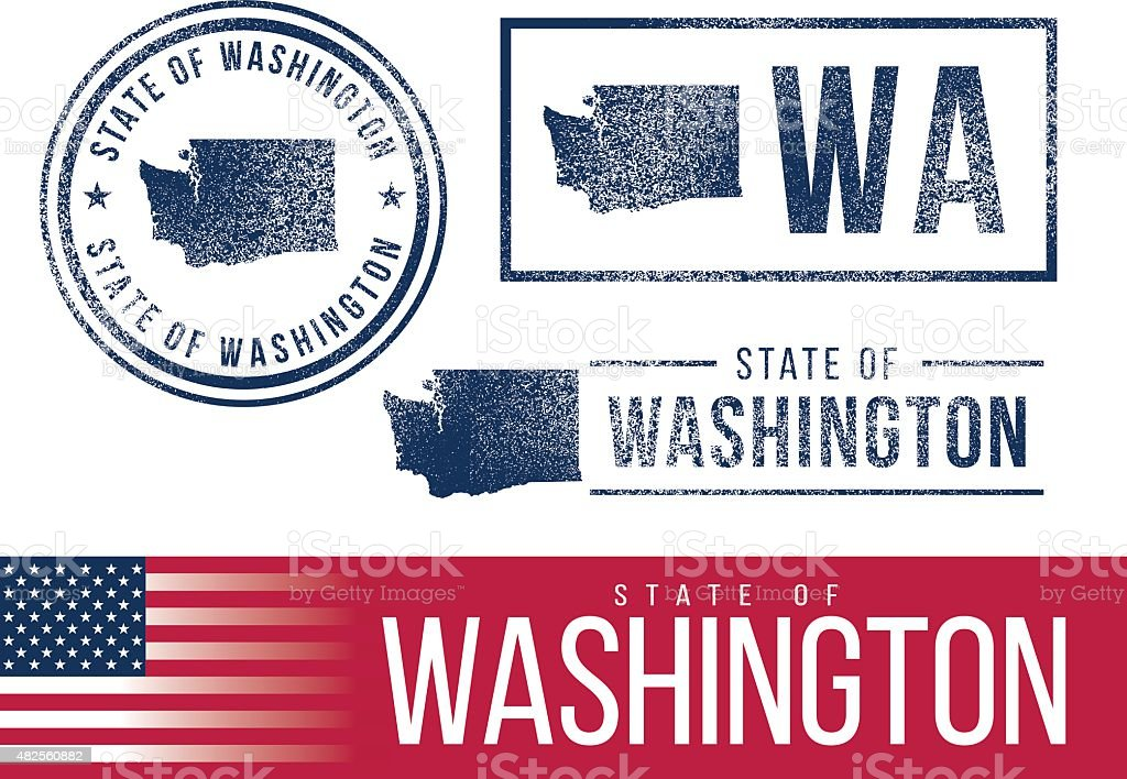 USA rubber stamps - State of Washington vector art illustration