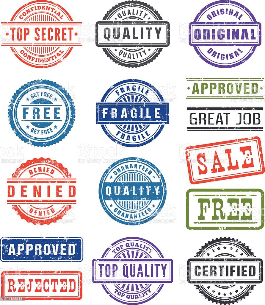 Rubber Stamps vector art illustration