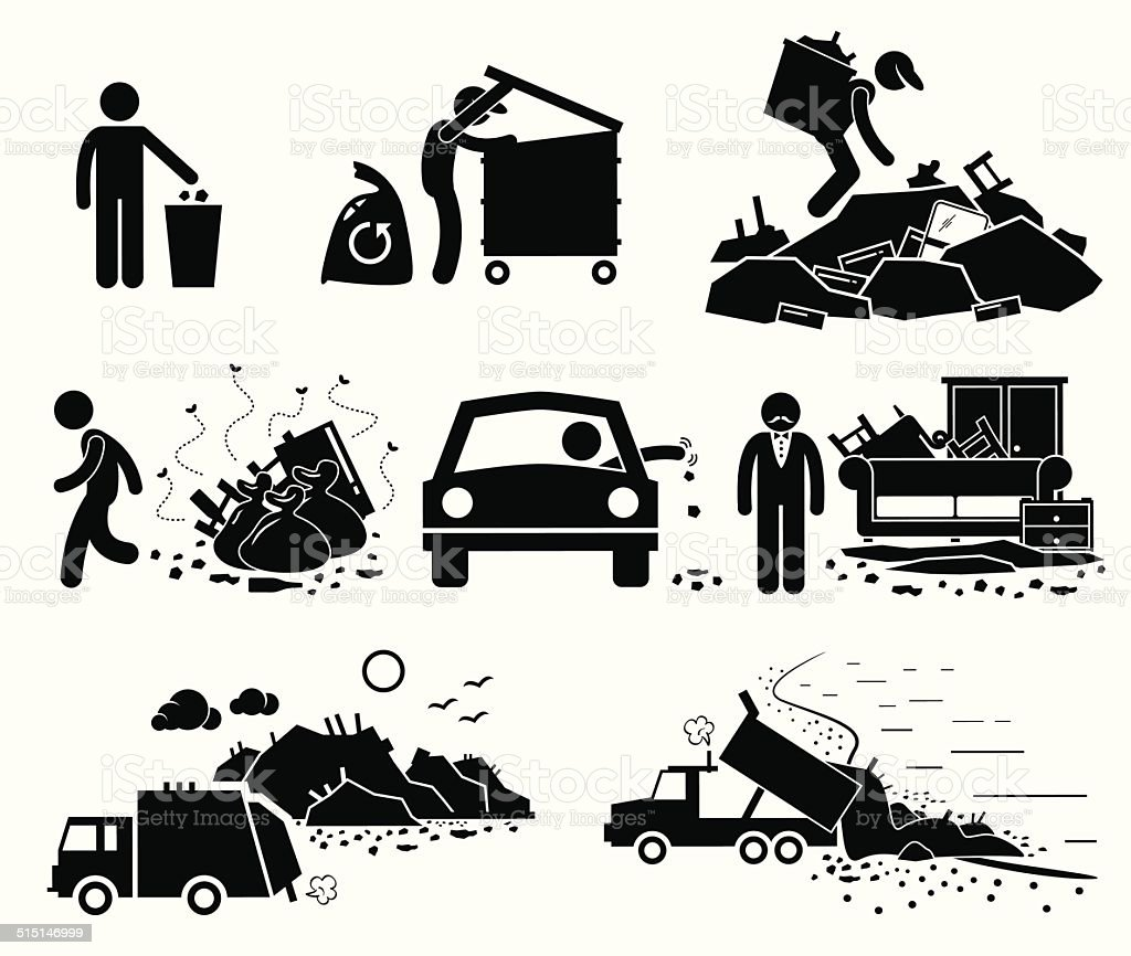 Rubbish Trash Garbage Waste Dump Site Stick Figure Pictogram Icons vector art illustration