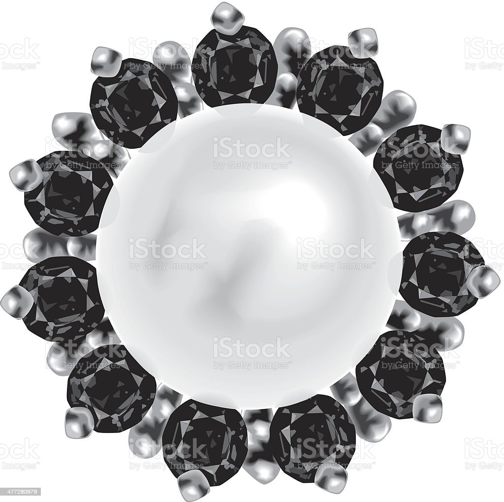 Ruby Pearl Pin royalty-free stock vector art
