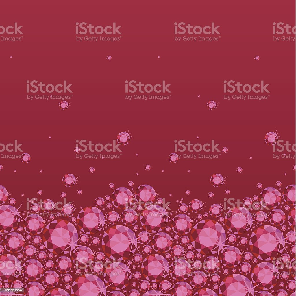 Ruby red gems horizontal seamless pattern royalty-free stock vector art