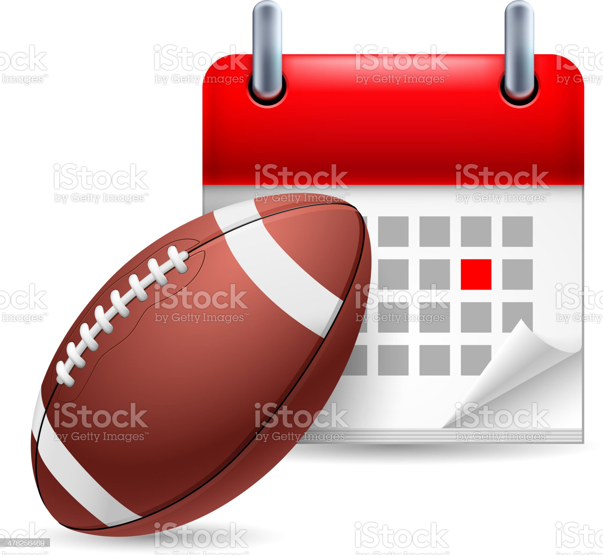 Rugby ball and calendar royalty-free stock vector art