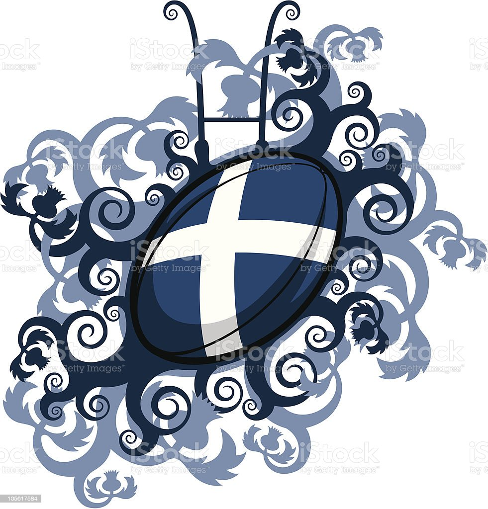 Rugby Ball Emblem Scotland vector art illustration