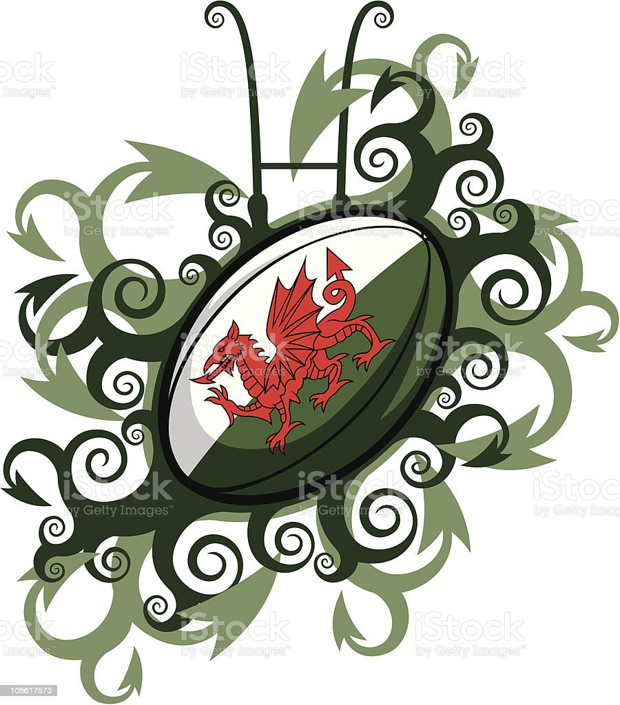Rugby Ball Emblem Wales vector art illustration