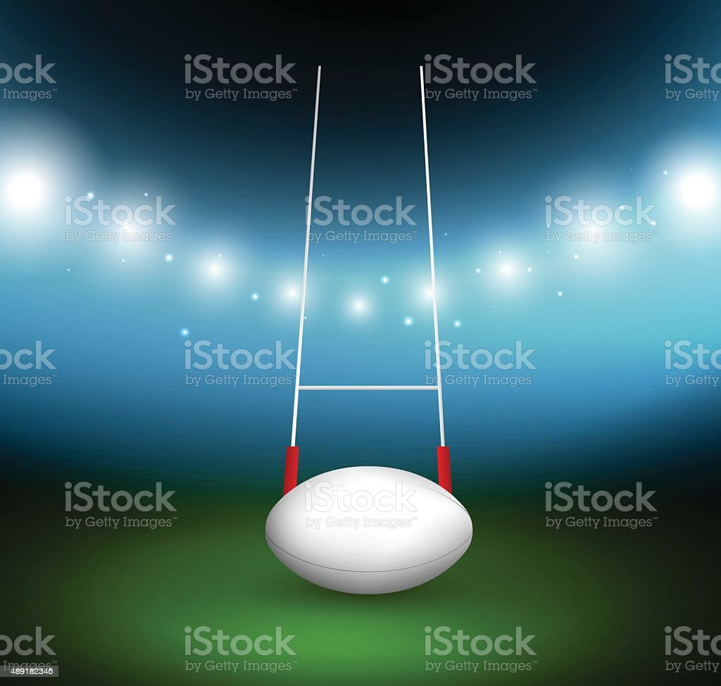 Rugby ball on a field vector art illustration