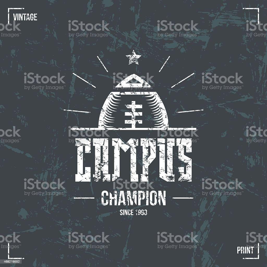Rugby campus team emblem vector art illustration