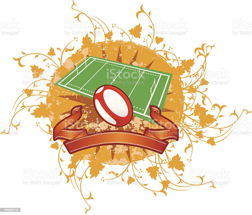 rugby field and ball royalty-free stock vector art