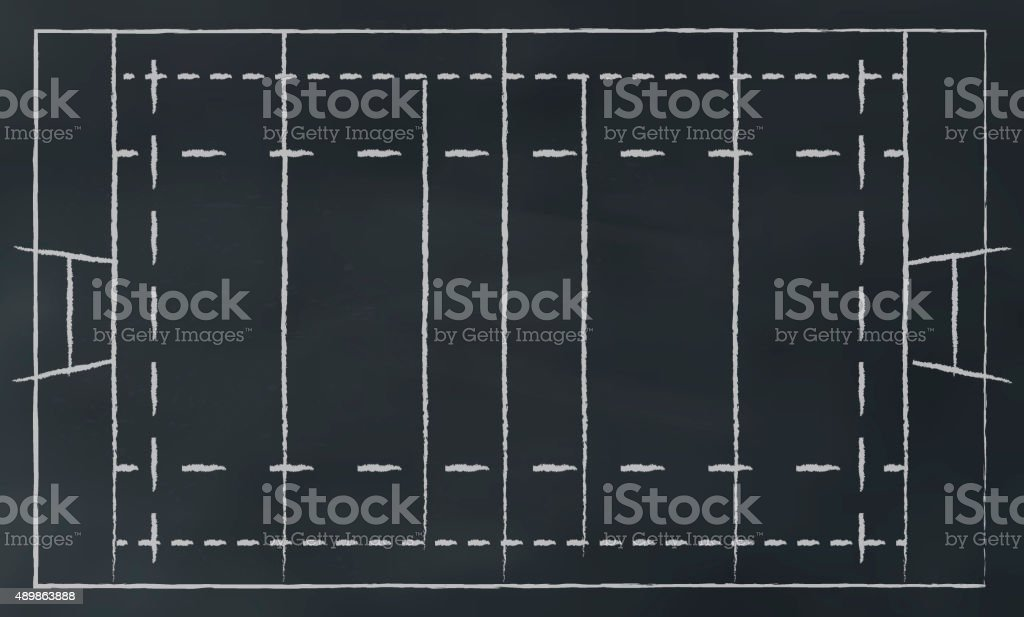 rugby field on chalkbord stock photo