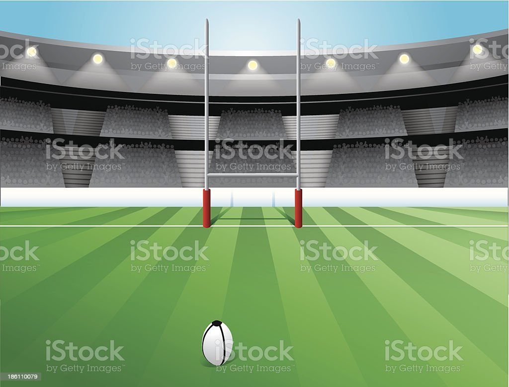 Rugby Field vector art illustration