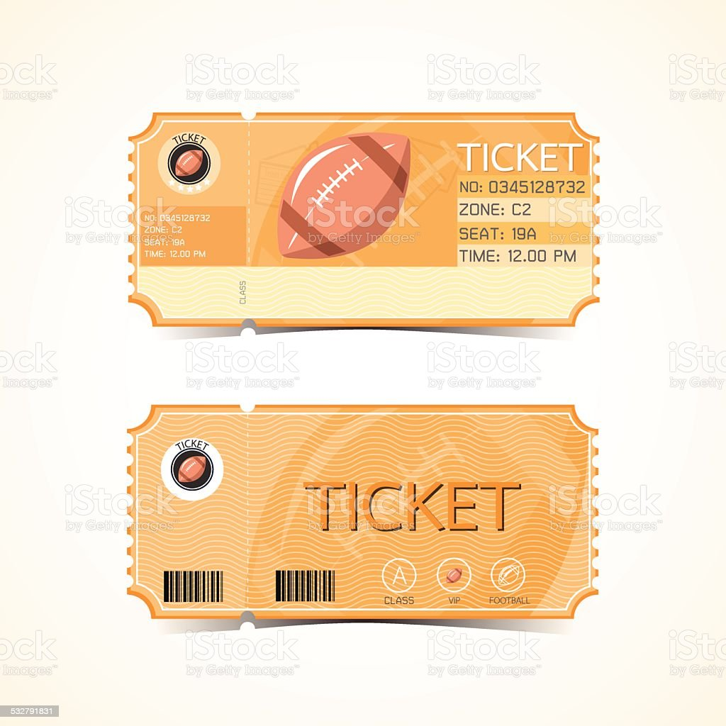 Rugby Football Ticket Card Retro design vector art illustration