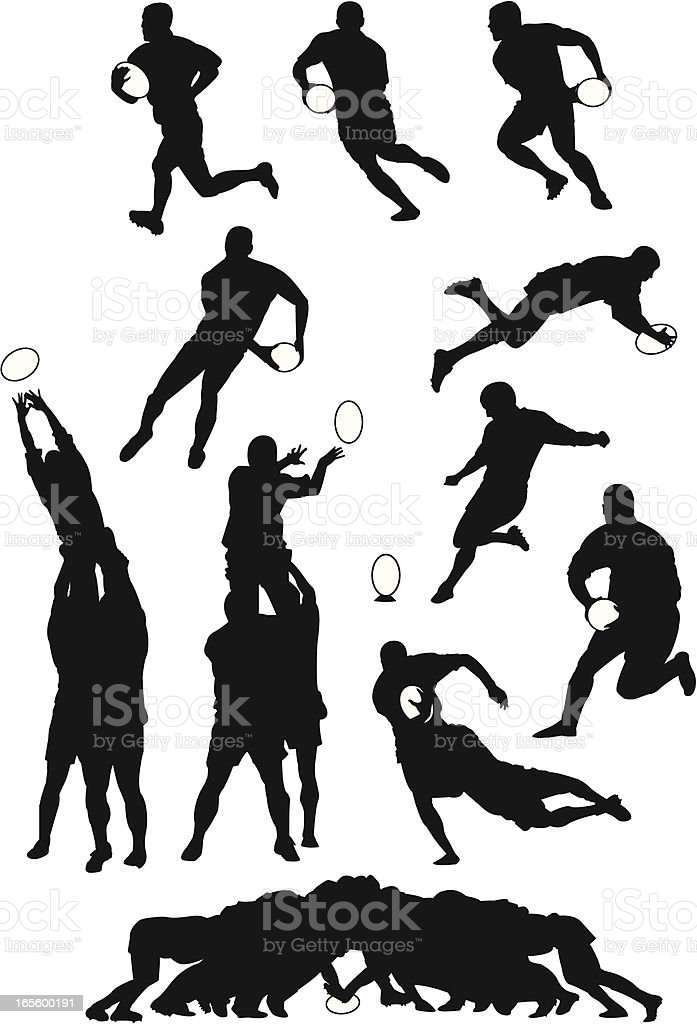 Rugby move vector art illustration