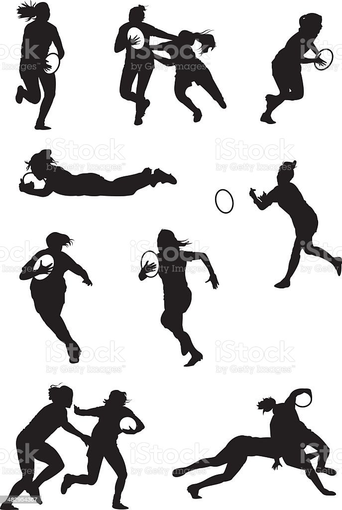 Rugby played by ladies vector art illustration