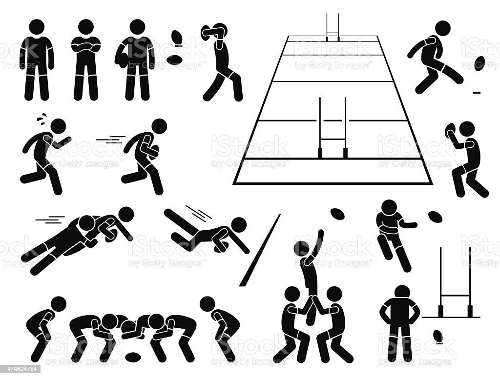 Rugby Player Actions Poses Stick Figure Pictogram Icons vector art illustration