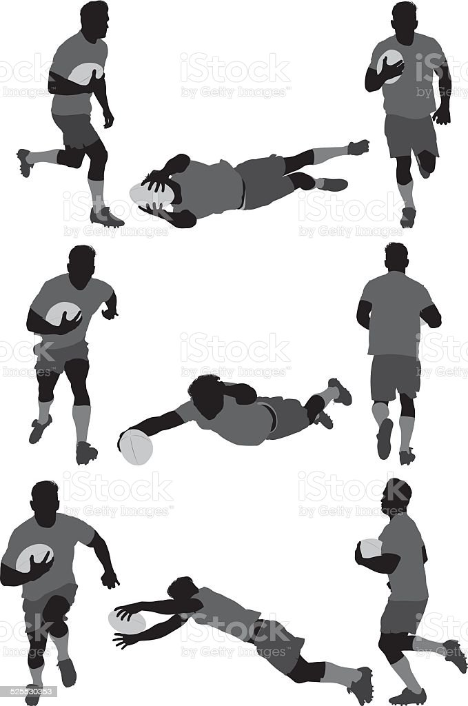Rugby player in various actions vector art illustration