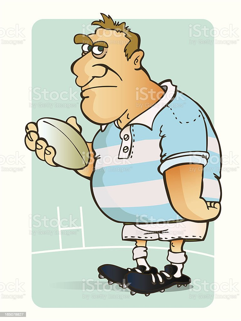 Rugby player on a rugby field royalty-free stock vector art