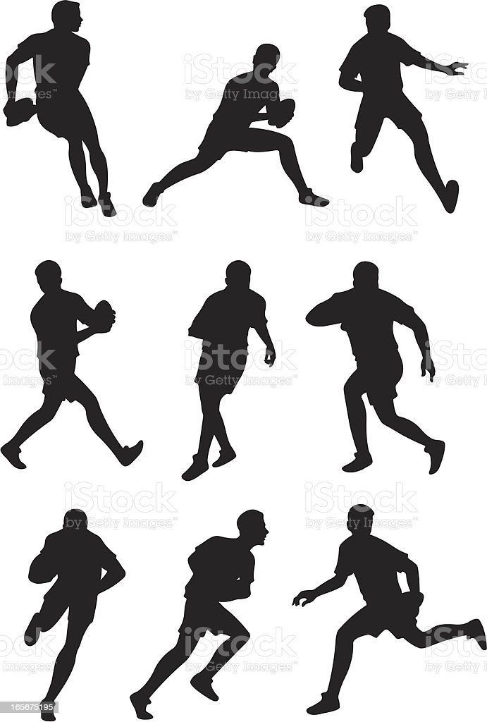 Rugby players in action vector art illustration