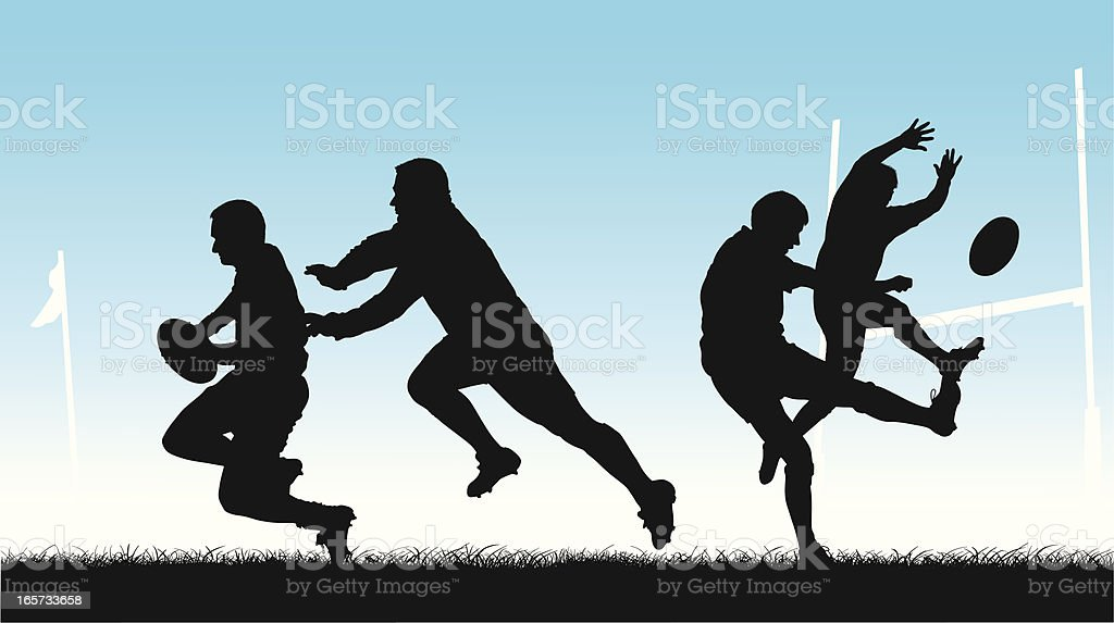 Rugby players silhouetted in action vector art illustration