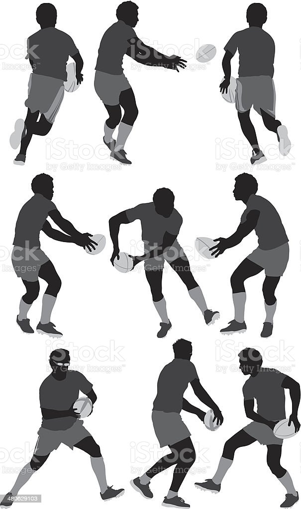 Rugby players vector art illustration