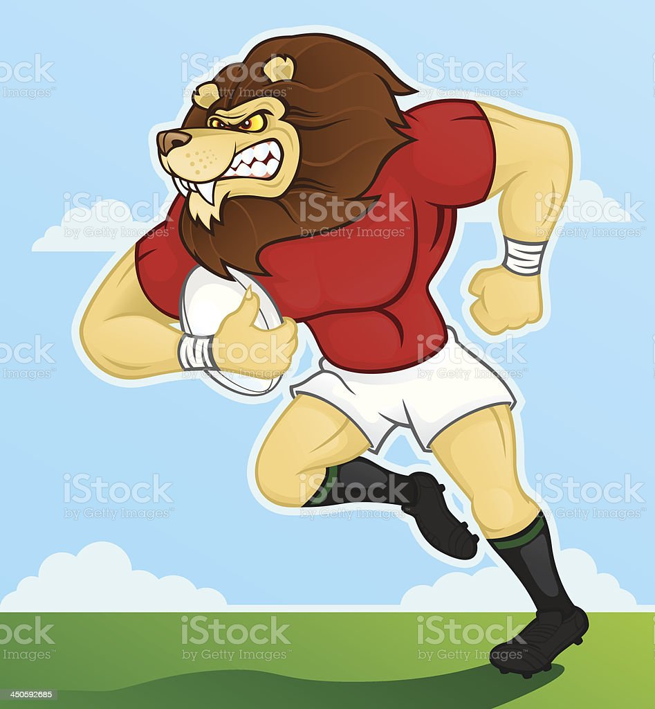 Rugby Playing Lion royalty-free stock vector art