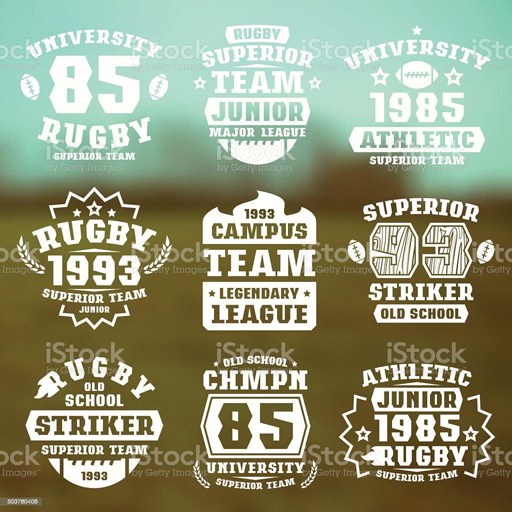 Rugby team badges vector art illustration