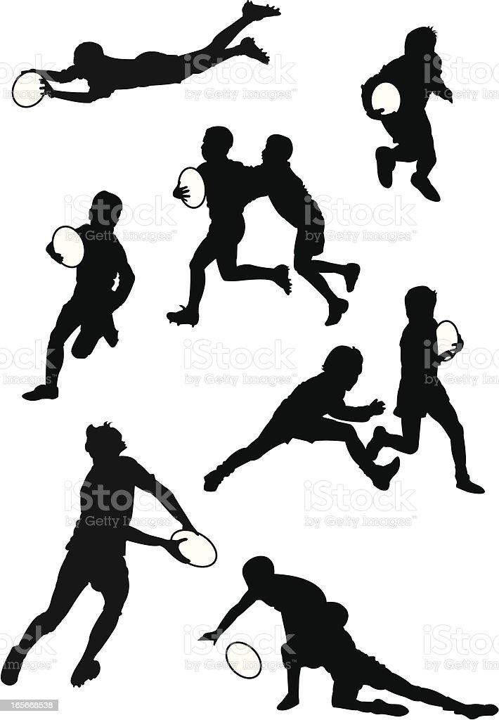 Rugby Teens vector art illustration