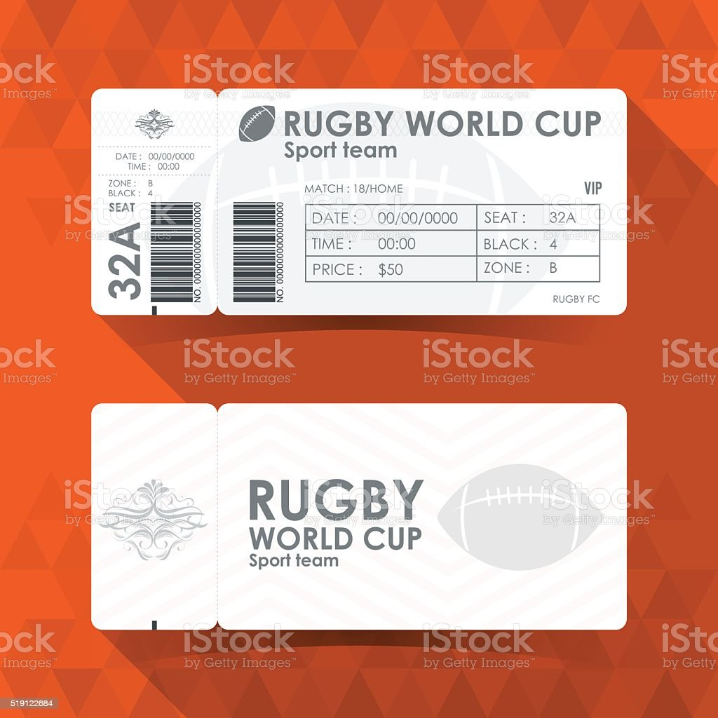Rugby Ticket Card design, Vector illustration. vector art illustration