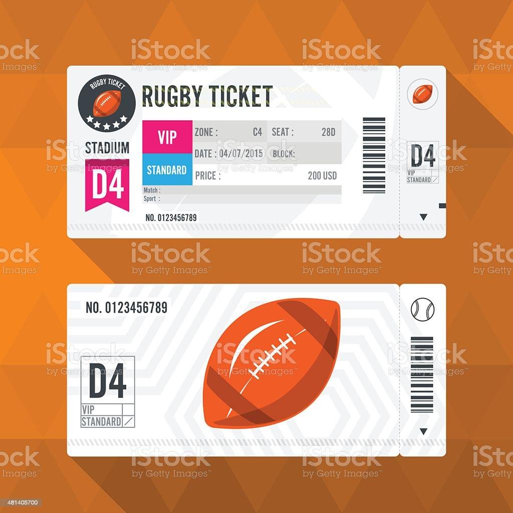 Rugby Ticket Card modern element design vector art illustration