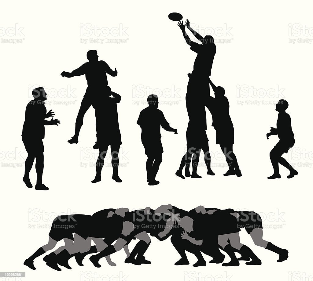 Rugby Vector Silhouette vector art illustration