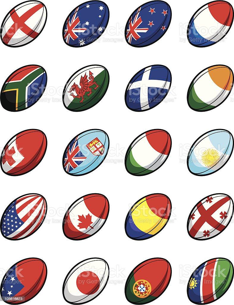 Rugby World Cup 2007 Team Balls vector art illustration