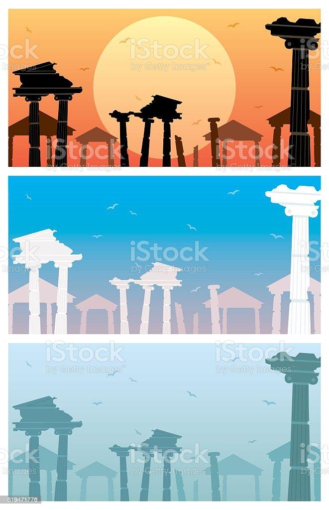 Ruins vector art illustration