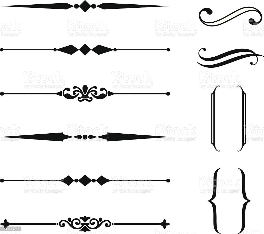 Rule Line and Ornament Set royalty-free stock vector art
