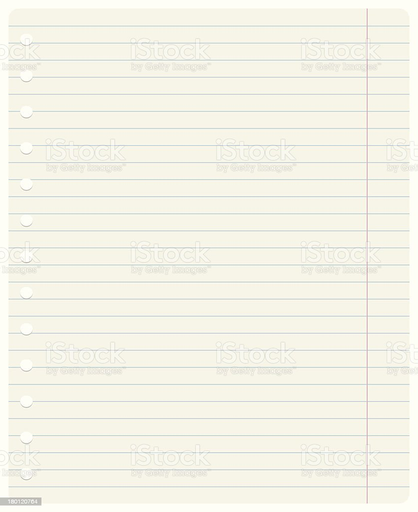 Ruled notebook sheet royalty-free stock vector art