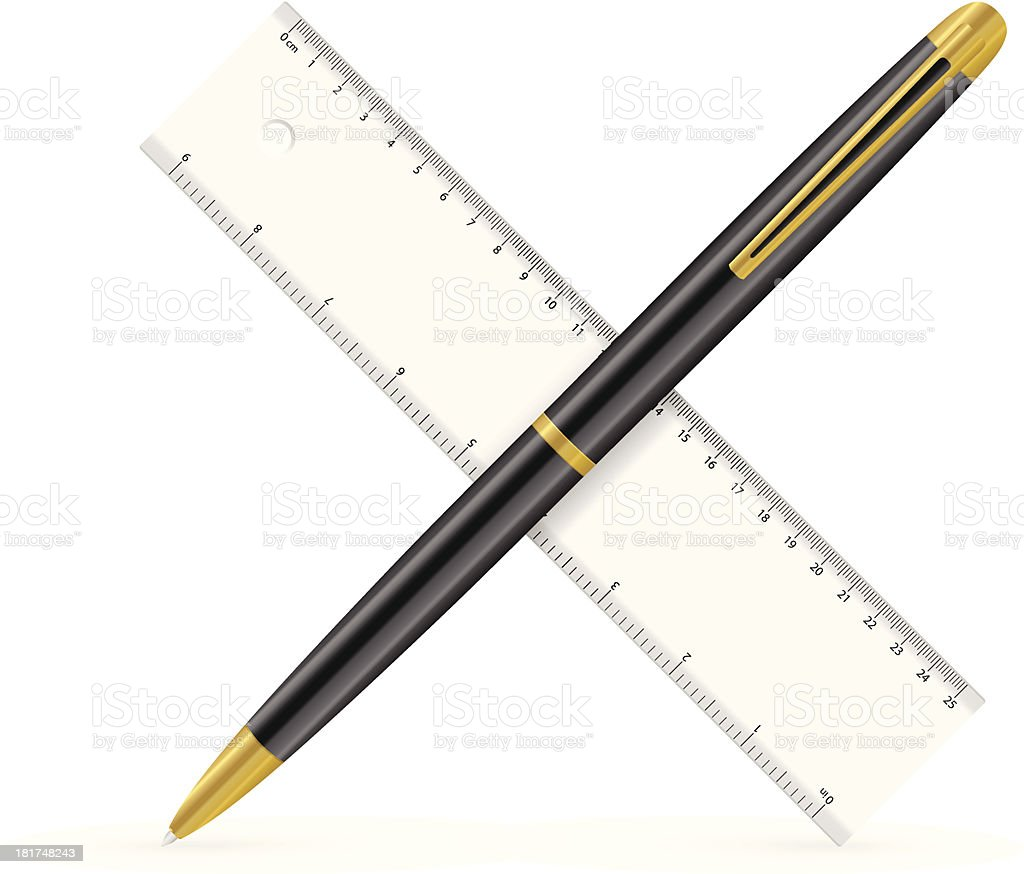 ruler and pen royalty-free stock vector art