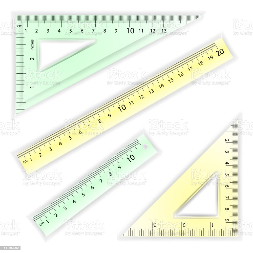 Ruler And Triangles Vector. Centimeter And Inch. Simple School Measurement Tool Equipment Illustration Isolated On White Background. Several Instruments Variants, Proportional Scaled vector art illustration