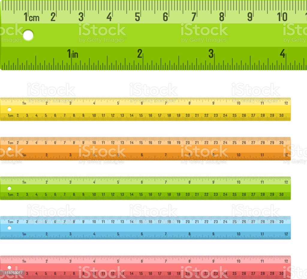 Rulers in centimeters and inches vector art illustration