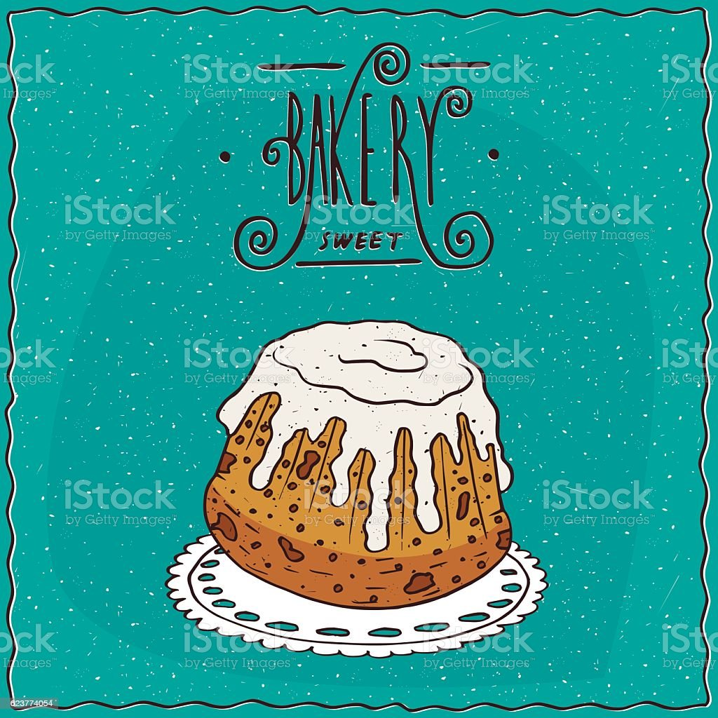 Rum baba with white icing on lacy napkin vector art illustration
